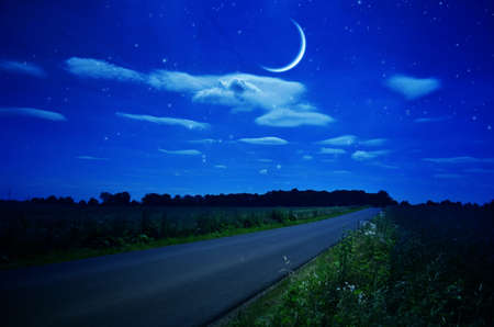 Night. Rural road under the stars and moon.