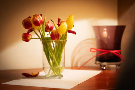 Bouquet of tulips in a glass vase