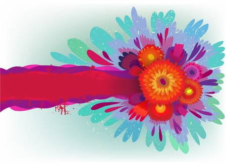 background with bright flowers and text Ilustração