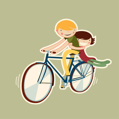 bike vector: par de montar en bicicleta. aislado car�cter vectorial
