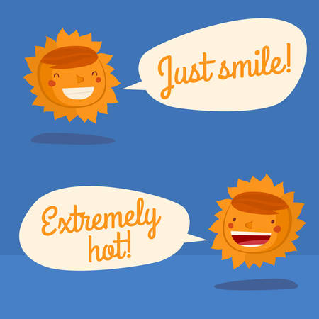 sun character talking. sun weather forecast charater isolated. vector illustration