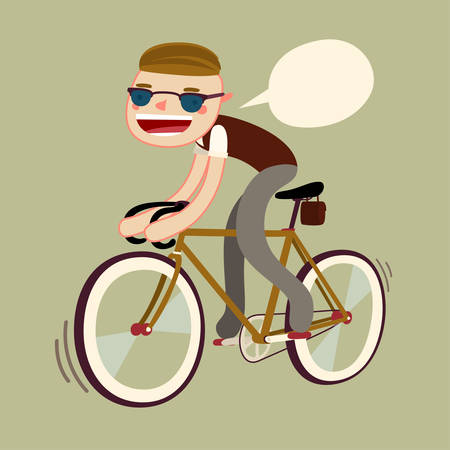 boy riding bike to college. fixie bike rider. vector character isolated Ilustração