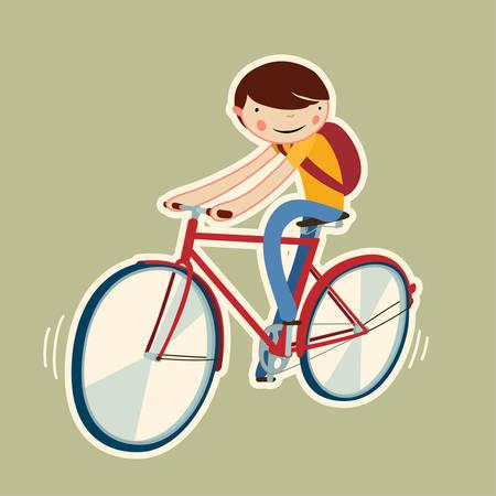 bicicleta vector: chico lindo en una bicicleta. aislado personaje de dibujos animados. ilustración vectorial