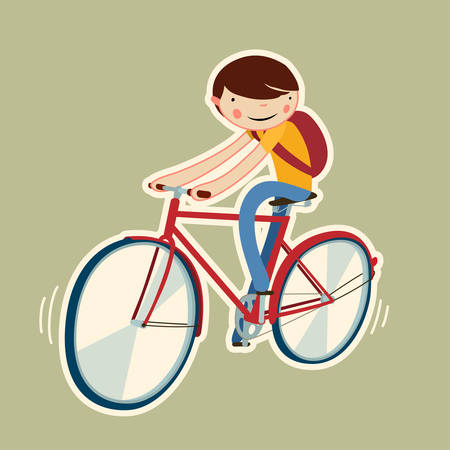 cute boy on a bike. cartoon character isolated. vector illustration Reklamní fotografie - 36810911