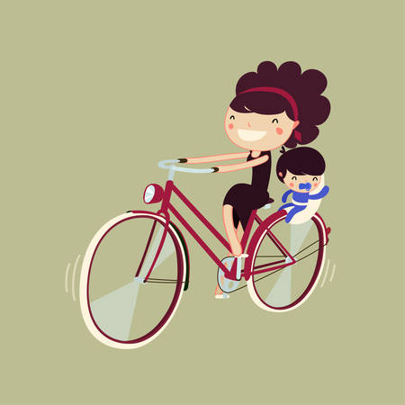 woman riding a bike with her baby. mpther and son on a bicycle. character isolated. vector illustration
