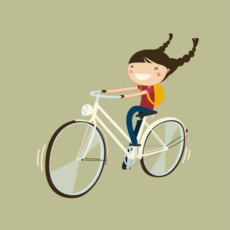 linda chica alegre que monta un personaje de dibujos animados bicicleta aislada