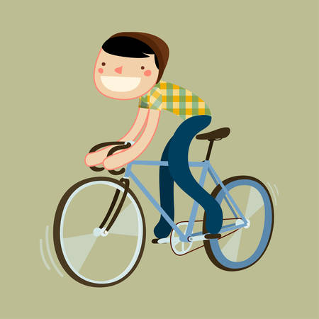 road bike: hipster riding fixie. boy riding road bike. character isolated. vector illustration
