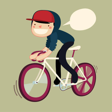 bicycle pedal: boy riding bike cartoon character. hipster rider saying. vector illustration Illustration