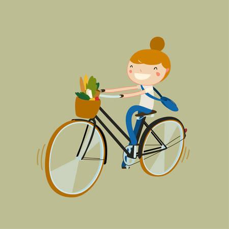 bicicleta vector: niña montando en bicicleta con la comida vegetariana. chica de montar de un mercado. ilustración vectorial