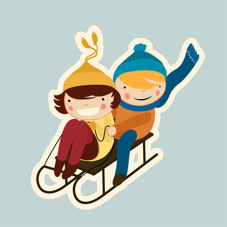 cartoon flat couple sled