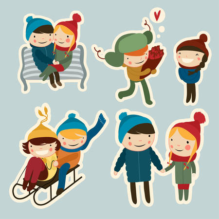cute flat couples on date winter stickers Imagens - 36905165