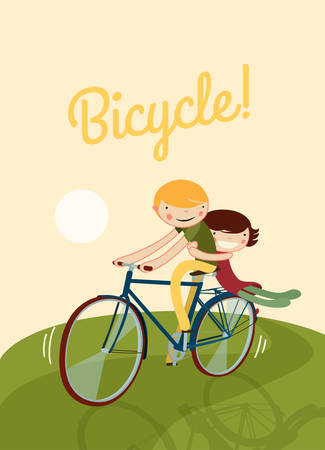couple riding bike. cute characters on a bicycle template. vector illustration