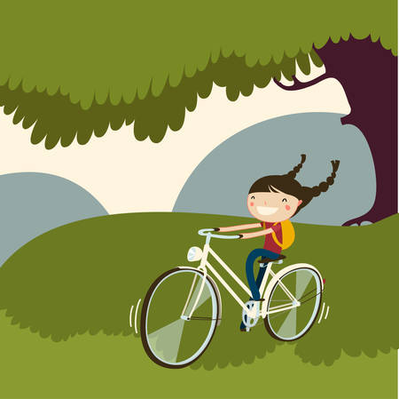 cute girl ring bicycle. vector illustration. Imagens - 36905170