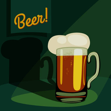 vintage pint of beer. cartoon mugglass of beer template. vector illustration