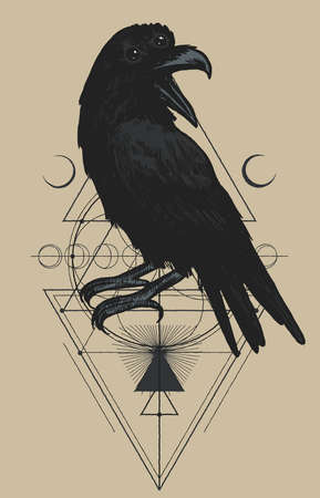 Gnostic science. Raven on the skull in fire. Occult rock music t-shirt print.