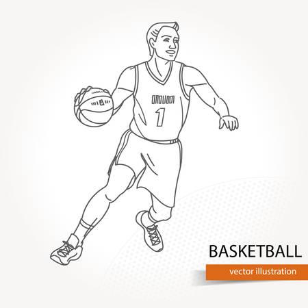Illustration of basketball player. Vector illustration isolated Illustration