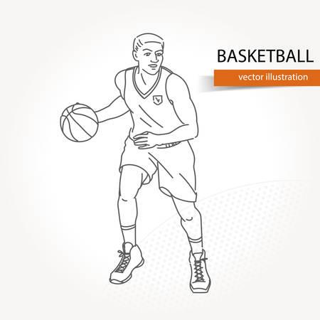 Ilustración del jugador de baloncesto. Ilustración de vector aislado Ilustración de vector