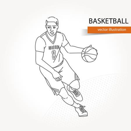 Ilustración del jugador de baloncesto. Ilustración de vector aislado