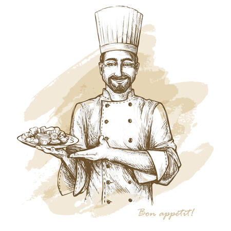 Smiling and happy chef with plate. Vector hand drawn illustration on artistic watercolor background.