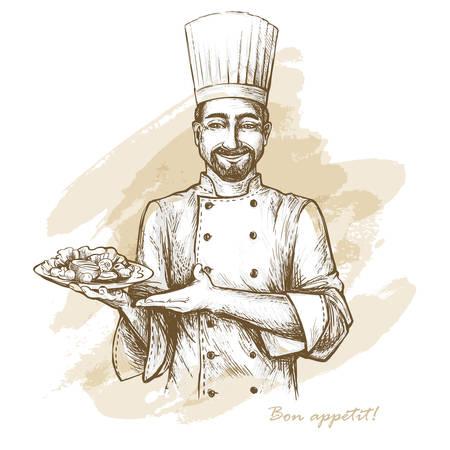 Sorridente e felice chef con piastra. Vector illustrazione disegnata a mano su sfondo artistico acquerello. Archivio Fotografico - 84827477