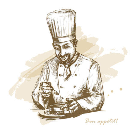 Smiling and happy male chef garnishing food. Vector hand drawn illustration on artistic watercolor background.