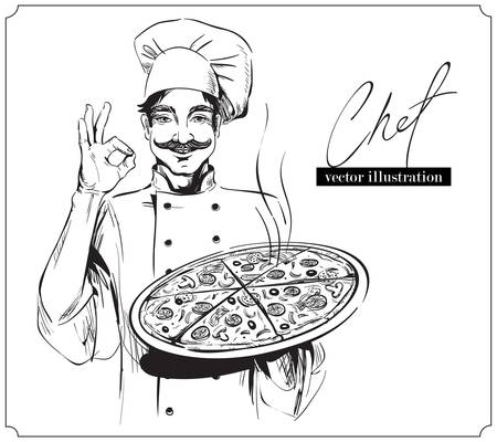 Outline hand drawn illustration of Smiling and happy chef with pizza on white background. 向量圖像