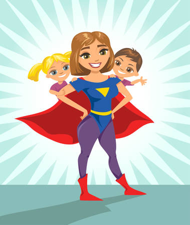 Super hero, super mom. Happy smiling super mother with her children. Vector illustration with isolated characters. Çizim