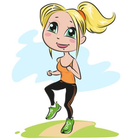 Girl doing aerobic exercises.