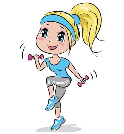 Girl doing aerobic exercises Vettoriali