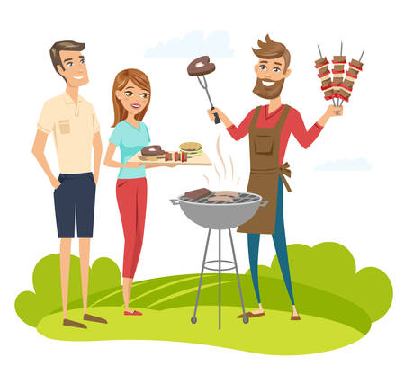 BBQ party with friends. Vector characters illustration isolated.