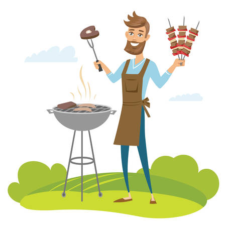 Happy man grilling meat on barbecue grill and holding skewers. Vector  illustration isolated.