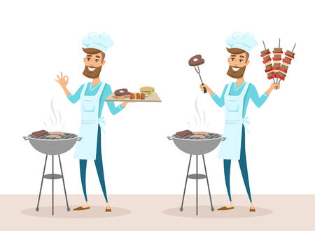 Set of happy man in chef hat grilling meat on barbecue grill and holding skewers. Vector  illustration isolated on white background.