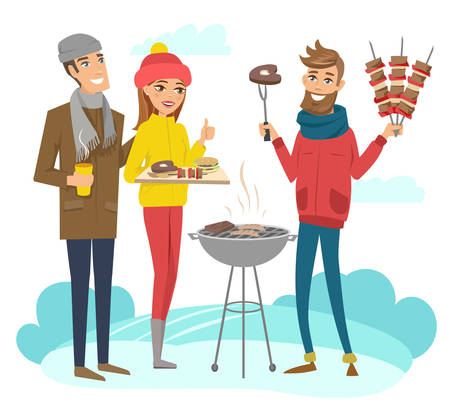 BBQ party with friends during winter holidays. Vector illustration. Characters are isolated.