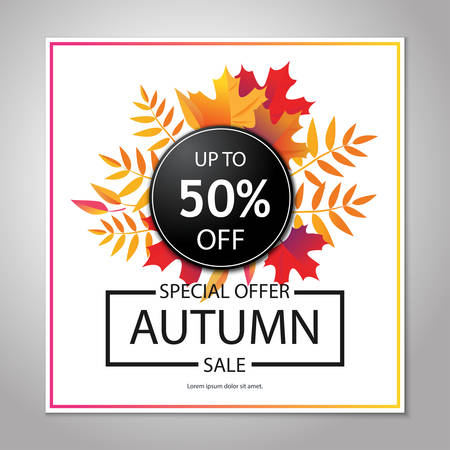 Autumn sale layout, poster, background. Illustration