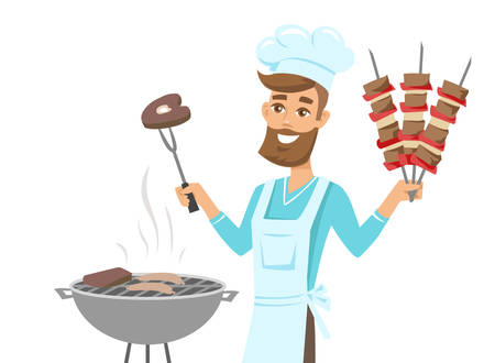 Happy man in chef hat grilling meat on barbecue grill and holding skewers. Vector  illustration isolated on white background.