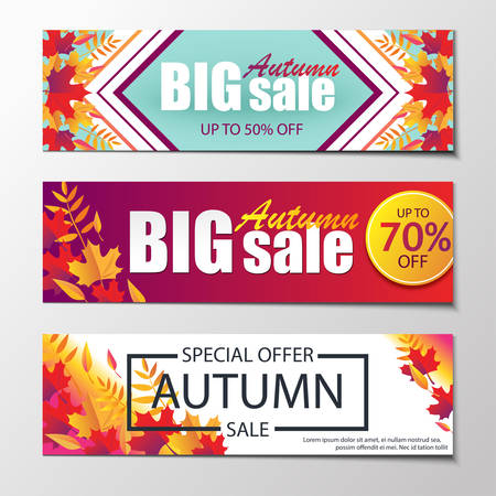 Autumn sales banners. Illustration