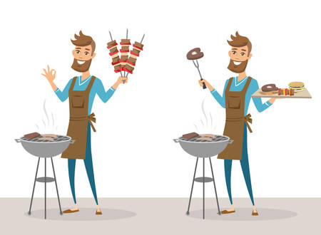 Set of happy man grilling meat on barbecue grill and holding skewers. Vector illustration isolated.