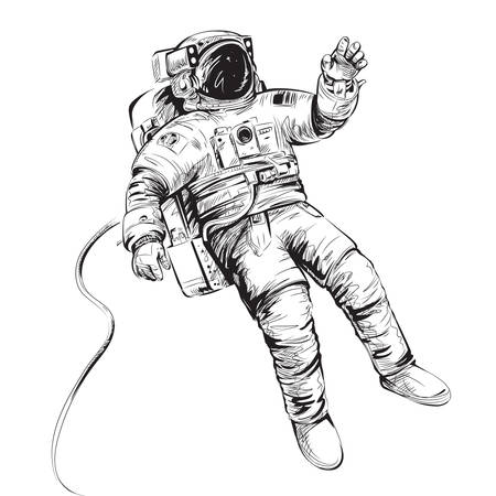 Cosmonaut or astronaut in spacesuit. Vector illustration isolated on white. Illustration