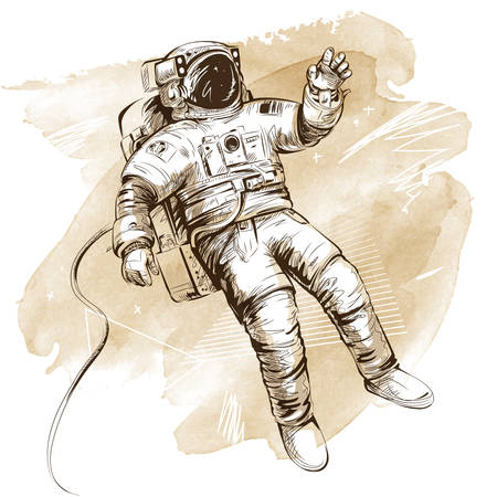 Cosmonaut or astronaut in spacesuit. Hand drawn vector illustration on artistic watercolor background. All elements isolated.