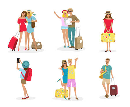 Set of tourist people with luggage, camera, map and smartphone. Vector illustration of group of people vacation isolated on white.
