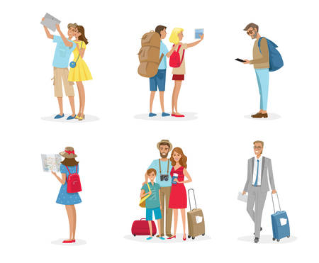 Set of tourist people with luggage, camera, map and gadgets. Vector illustration of group of people vacation isolated on white.