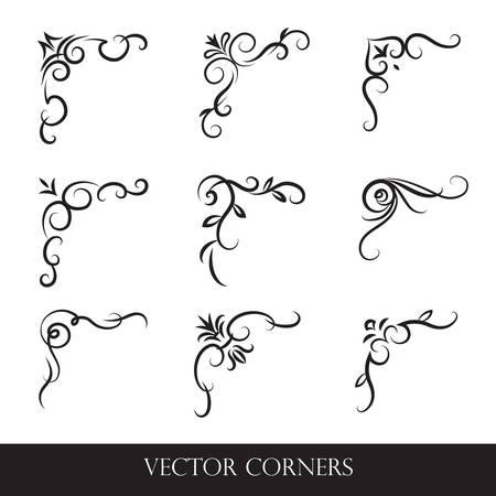 Ensemble de cadres, bordures, étiquettes. Collection d'éléments de conception originaux. La calligraphie vectorielle tourbillonne, des swash, des motifs ornés et des parchemins.