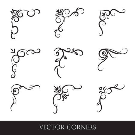 Set of frames, borders, labels. Collection of original design elements. Vector calligraphy swirls, swashes, ornate motifs and scrolls.