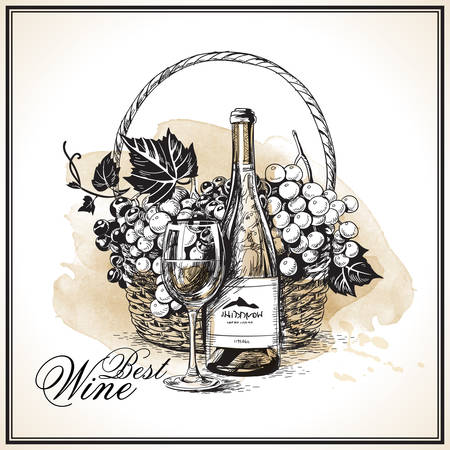 Wine bottle with wineglass and wicker basket with bunch of grapes in watercolor hand-drawn style vector illustration.
