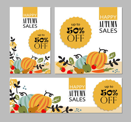 Set of autumn templates. Leaflet, card,  poster, banner with vegetables, fruits, berries and leaves. Vector illustration for autumn sales campaign. Illustration