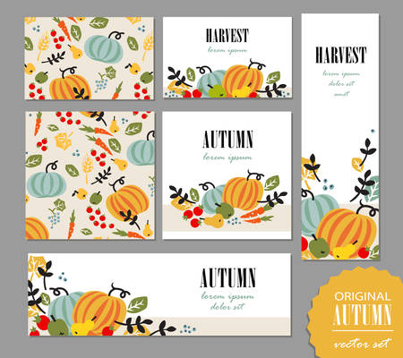 Set of autumn templates. Leaflet, greeting card, banner, poster with vegetables, fruits, berries and leaves. Vector illustration for promo, sales campaign advertising. Illustration