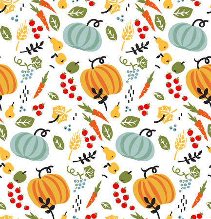 Seamless pattern with vegetables, fruits and leaves. Vector autumn background. Illustration