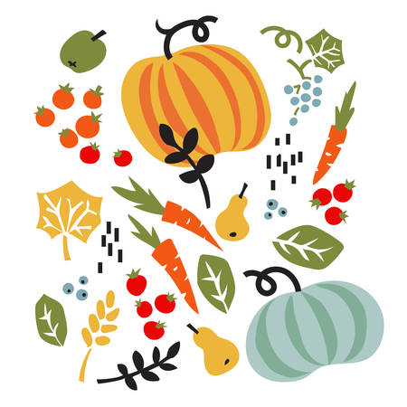Vector illustration with vegetables, fruits and leaves. Organic healthy food.