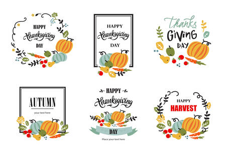 Set of happy Thanksgiving hand drawn typography poster. Elements for Thanksgiving greeting card with vegetables, fruits, berries and leaves. Vector calligraphy lettering, sign, symbol, banner.