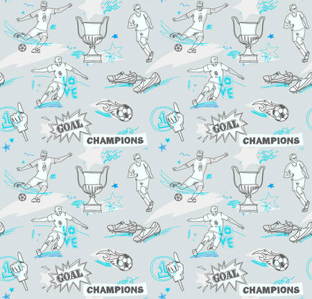 Seamless football pattern with soccer player. Soccer vector background, texture.